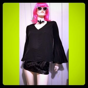 🖤VTG Witchy 90s WICKED GOTH Bell Sleeve Top